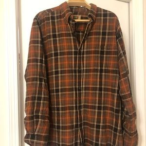 Men's The Foundry brown and orange flannel